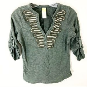Anthropologie C. Keer XS Green Shirt Blouse Top